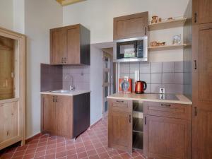 """Kuchyň nebo kuchyňský kout v ubytování Апартаменты """"Galerie BM"""""""