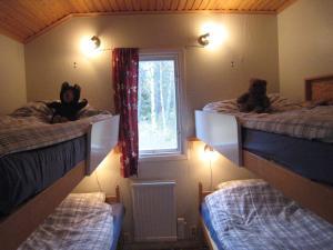 A bunk bed or bunk beds in a room at Snäckan