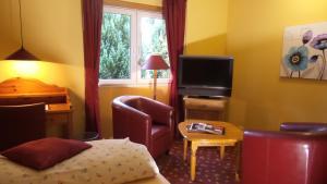 A television and/or entertainment center at Hotel garni Historischer Krug
