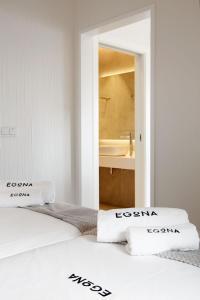 Cama o camas de una habitación en Apartamentos Egona Zarautz sobre el mar