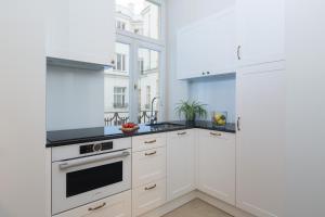 Kuchyň nebo kuchyňský kout v ubytování Warsaw Apartment