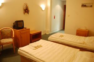 Postel nebo postele na pokoji v ubytování Hotel Sloup