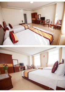 מיטה או מיטות בחדר ב-Hai Long Hotel Cat Ba