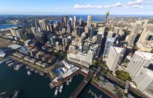 Hyatt Regency Sydney tesisinin kuş bakışı görünümü