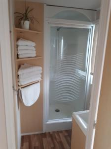 A bathroom at Mobil home