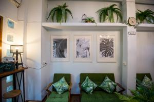 A seating area at Victory Park Hostel