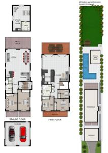 The floor plan of The Byron Beach House