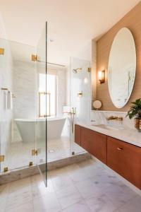 A bathroom at The Dewberry Charleston