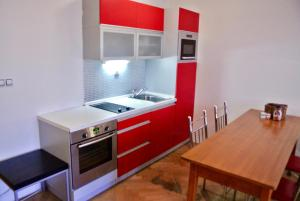 A kitchen or kitchenette at Prague Letna Apartments