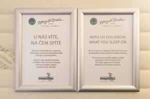 A certificate, award, sign, or other document on display at Hotel Garni Myší Díra