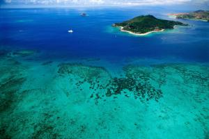 A bird's-eye view of Castaway Island, Fiji