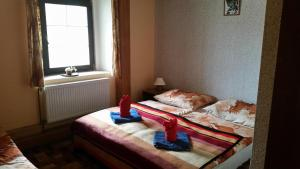 A bed or beds in a room at Penzion Pegas Depoltovice