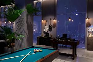 A pool table at L7 Hongdae by LOTTE