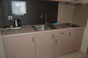 A kitchen or kitchenette at Apartamenty Plaza Słupca