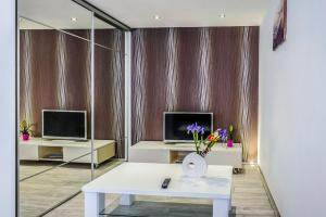 A television and/or entertainment centre at Alpha loft 1BR apartment in center