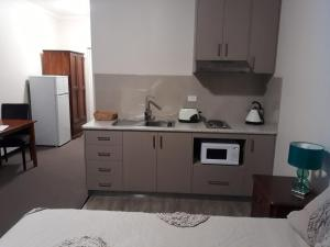 A kitchen or kitchenette at The Moe Motor Inn