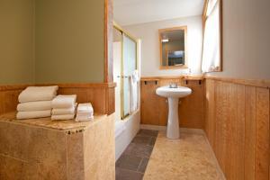 A bathroom at Agate Beach Motel