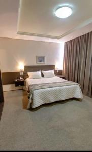 Cama ou camas em um quarto em Guaíra Palace Hotel