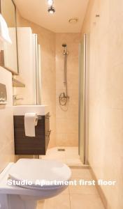 A bathroom at Hotel De Vischpoorte, aan de IJssel en hartje Deventer, hotelkamers en appartementen met keukens