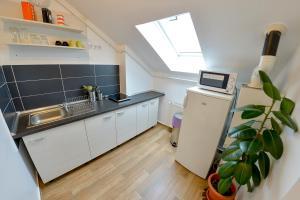 A kitchen or kitchenette at Siebenburgen Apartments