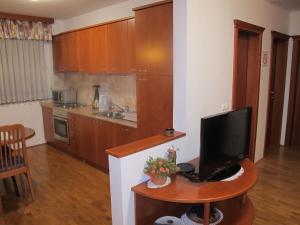A kitchen or kitchenette at Apartment Sobe Ravbar
