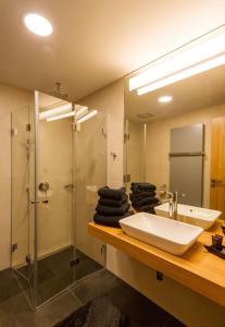 A bathroom at Vinařství Obelisk