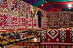 A seating area at Seven Wonders Bedouin Camp