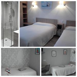 Un ou plusieurs lits dans un hébergement de l'établissement Beaune Hôtel
