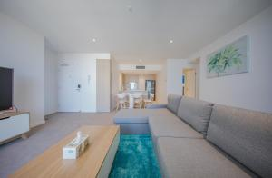 A seating area at HomePlus Premier Apartments at 2663 Gold Coast Hwy, Broadbeach