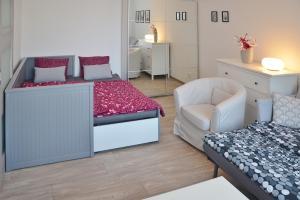 Posteľ alebo postele v izbe v ubytovaní Apartmán 1+1 v centru České Lípy, 2.patro