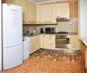 Кухня или мини-кухня в Omsk Sutki Apartments at Pushkina 99 floor 3