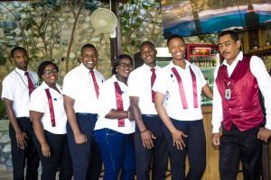 Staff members at Elite Hotel Haiti
