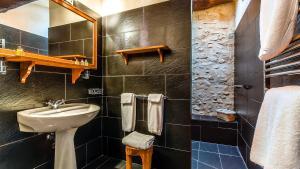 A bathroom at La Tour d'Enguernes