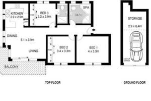 The floor plan of Coogee Dream View Apartment