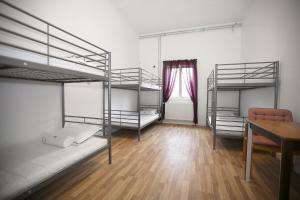 A bunk bed or bunk beds in a room at Klintehamn Vandrarhem