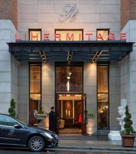 The facade or entrance of L'Hermitage Hotel