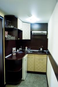 A kitchen or kitchenette at Fedorov ApartHotel Barnaul