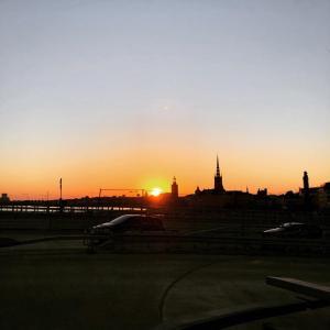 Soluppgång eller solnedgång från vandrarhemmet