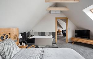 Łóżko lub łóżka w pokoju w obiekcie Villa Nova