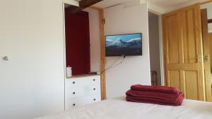 A television and/or entertainment center at Toffeetin Cottage