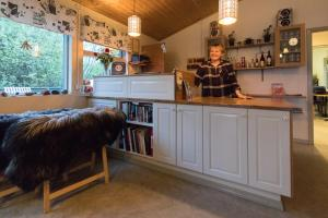 A kitchen or kitchenette at Gesthus Selfoss