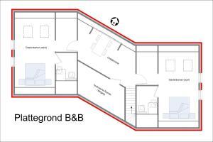 De plattegrond van B&B Kröddeburen