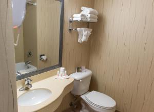 A bathroom at Howard Johnson by Wyndham by the Falls Niagara Falls