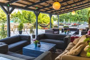 A seating area at Island Hostel Budapest