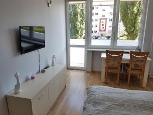 Telewizja i/lub zestaw kina domowego w obiekcie Apartament Przymorze