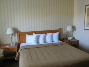 A bed or beds in a room at Travelodge by Wyndham Palm Springs