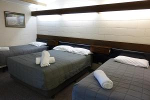 A bed or beds in a room at Coal Creek Motel