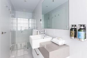 A bathroom at The Lucky Hotel