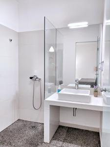 A bathroom at Brand new budget apartment next to Iaso and Oaka