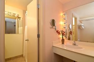 A bathroom at Red Arrow Inn & Suites